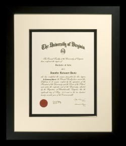 Dramatic University of Virginia Diploma
